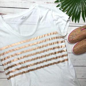 {J. Crew} sz L rose Gold foil striped scoop tee